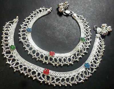 "Indian Silver Plated CZ Stone Design Chain Heavy Bridal 10"" Payal Foot Anklet d"