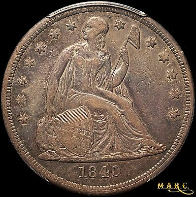 1840 XF40 PCGS 1$ Seated Liberty Dollar, Rich Toning!! Free Shipping, MARC