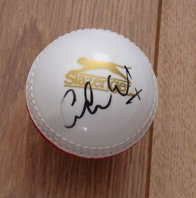 SLAZENGER CRICKET BALL HAND SIGNED IN BLACK By ENGLAND'S CHRIS WOAKES
