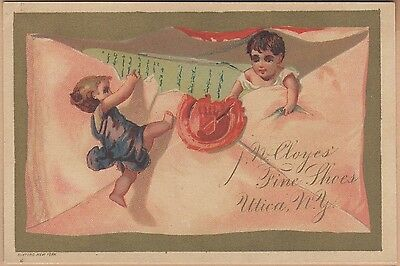Victorian Trade Card-J W Cloyes Fine Shoes-Utica, NY-Tiny Kids Opening Envelope