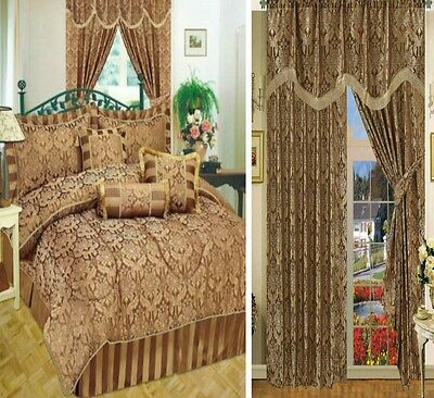 Curtains Pair Pencil Pleat Pelmet Pay Separately For 7Pieces Comforter Chocolate
