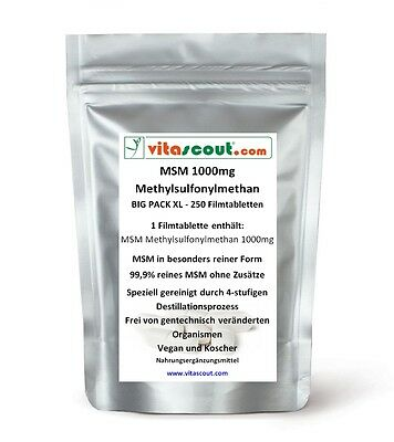 MSM - 1000mg - 250 Tabletten - PN: 10252 - MSM in besonders reiner Form!