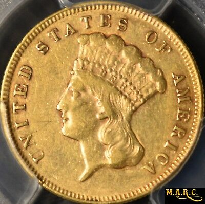1874 XF45 PCGS secure! 3$ Gold Liberty, PCGS Photo, Rare $3 Dollar Denomination!