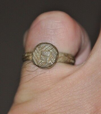 Ancient Roman Empire Soldier Legionary Intact Wearable Bronze Ring Sz US 7.5 - 8