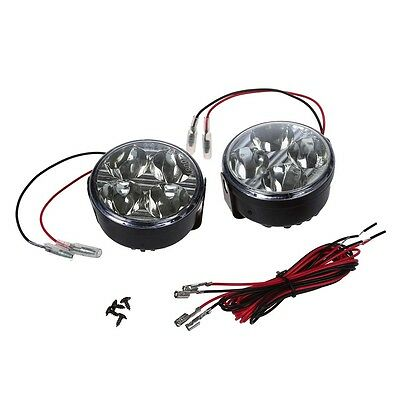 2 Stueck 12V Universal-Weiss-4 LED Runde Tagfahrlicht DRL Auto-Nebel-Tage Fernli