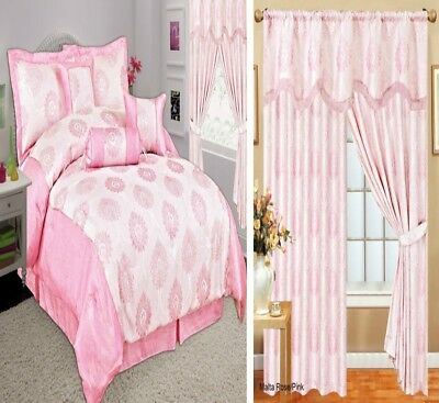 Curtain Pair Pencil Pleat Pelmet Pay Separately For Matching 7Pcs Comforter Pink