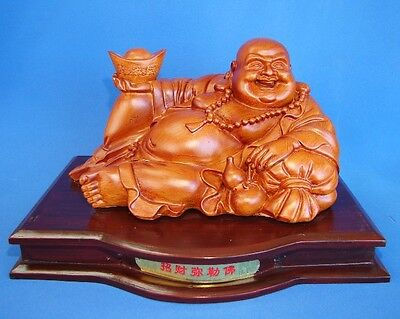 "11"" Wood Color Lying Down Laughing Buddha Statue"
