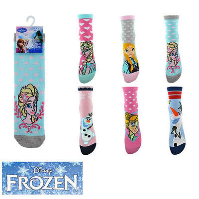 6PK New Kids Girls Disney Frozen Socks Frozen Elsa Anna Olaf Size 6-8 9-12 12-3