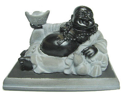 Lying Down Black Chinese Money Laughing Buddha Statue