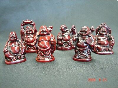 Set of Six Little Small Chinese Happy Money Buddha Statues