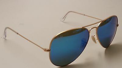 ray ban gold aviator sunglasses  Ray-Ban RB 3025 Gold Frame/Blue Lens Aviator Sunglasses 112/17 58 ...