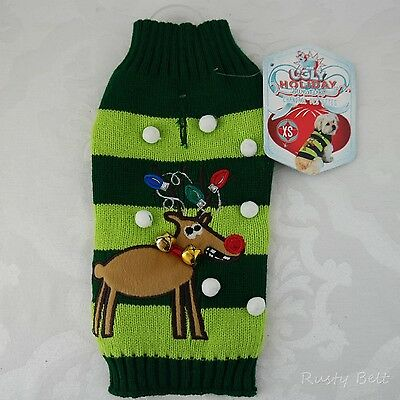 New York Dog Ugly Holiday Sweater for Pets (XS) Reindeer For pet 9-11 in length
