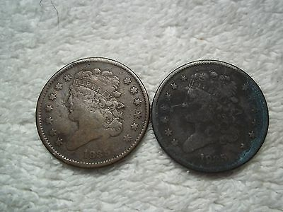 1835 Half Cents U.S. (lot of 2 coins) well circulated #3.45.33