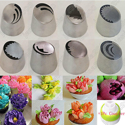 8Pc/Set Russian Flowers Petals Leaves Icing Piping Nozzles Cake Decor Tips Tool