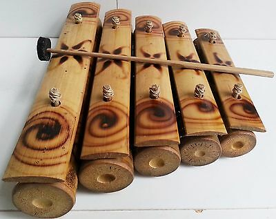 Bamboo 5 Key Gamelan Traditional Balinese Musical Instrument Xylophone Bali 29Cm