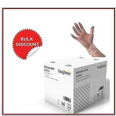 Box of 1000 Disposable Powder Free Clear Vinyl Gloves Latex Free Medical GLoves