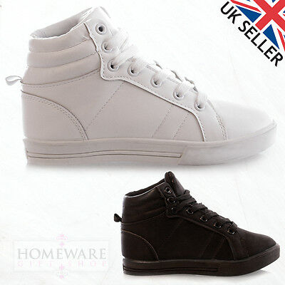 Childrens Kids Girls High Top Trainers White Black Lace Up Pumps Casual Shoes Uk