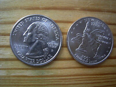 """2001d  usa state  quarter """" new york """" dollar coin collectable"""