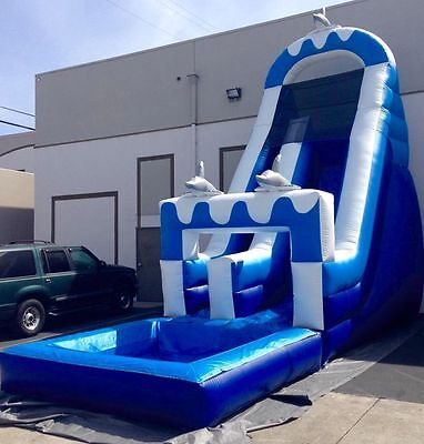 Commercial 25'Lx12'Wx15'H Waterslide Inflatable Convertible Wet/Dry Bounce House