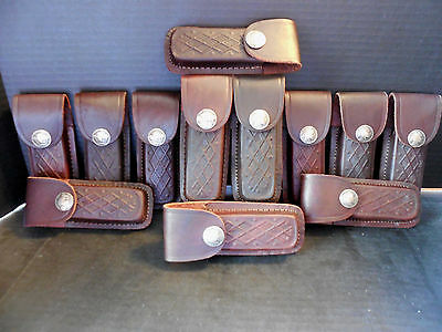 Lot. of 12 New brown leather knife sheaths replica nickel snaps - Fits Buck 110