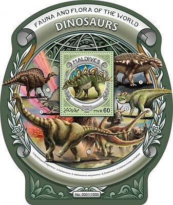 Z08 IMPERFORATED MLD16303b MALDIVES 2016 Dinosaurs MNH
