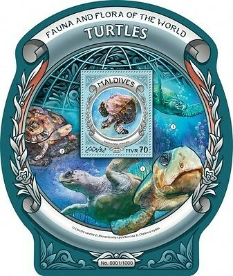 Z08 IMPERFORATED MLD16308b MALDIVES 2016 Turtles MNH