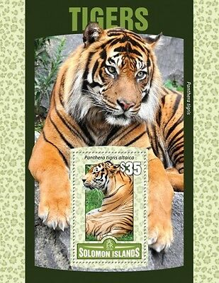 Z08 IMPERFORATED SLM16121b SOLOMON ISLANDS 2016 Tigers MNH