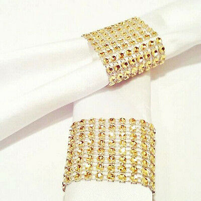 8Rows Bow Covers Napkin Ring Diamond Rhinestone Wedding Chair Sashes Bows Holder