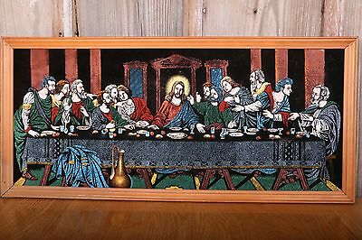 """The Last Supper Vintage Wall Hanging Marker Art Tapestry 30""""x14"""" Jesus Christian"""
