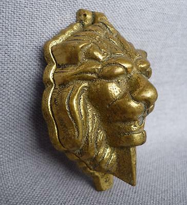Antique small french door knocker mid-1900's made of ormolu lion