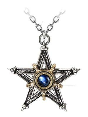 Medieval Pentangle Pentacle Two Tone Pewter Cabochon Middle Ages Magic Pentagram