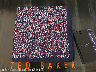 TED BAKER Pocket Square PRISTON Silk Hankie Dark Red Handkerchief BNWT RRP£25