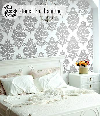 KABUL Damask Stencil - Furniture Wall Floor Stencil for Painting