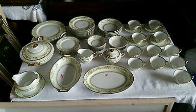 VINTAGE 68pc Meito China V2036 Blue Border With Floral Sprays Dishes Dinnerware