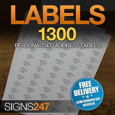1300no. PRINTED ADDRESS LABELS Self Adhesive Return Address PERSONALISED LABELS