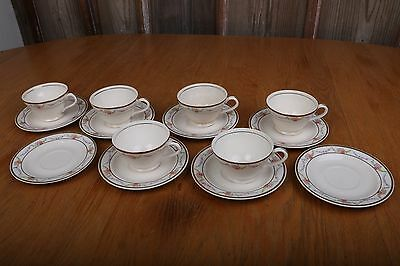 8 Vintage Edwin M Knowles China Co Garland Pattern Saucers 6 Cups Made In USA