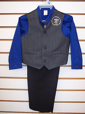Infant & Toddler Boys Royal, Black & Gray 4pc Vest Suit Size 24 Months - 5T