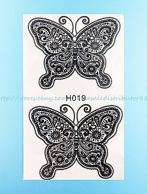 Butterfly Black Lace Henna Feminine Temporary Tattoo Tramp Stamp