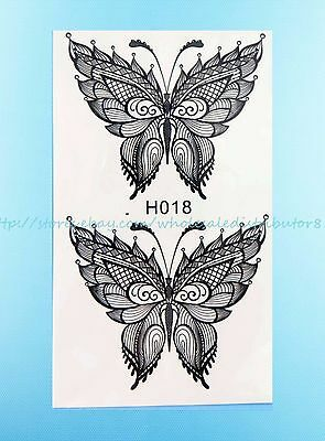 BUTTERFLY BLACK LACE henna feminine temporary tattoo removable ...