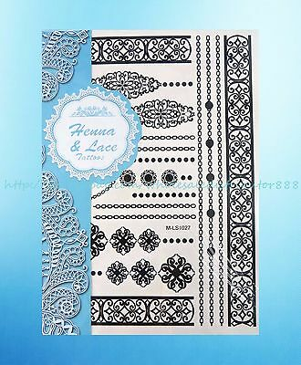 Butterfly Black Lace Henna Feminine Temporary Tattoo Removable