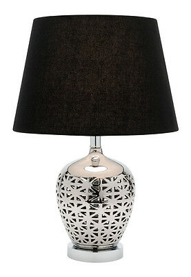 RILEY Black & Chrome Table Lamp, Bedside Table, Modern Cougar Lighting