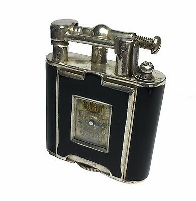 Sterling Silver Dunhill Unique Watch Lighter, A size. Black Lacquer