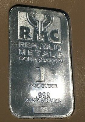 RMC Republic Metals Corporation Rare Collectible Bar 1 Troy Oz .999 Fine Silver
