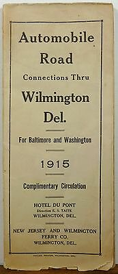 1915 Wilmington Delaware Hotel Du Pont AAA road auto routes map b