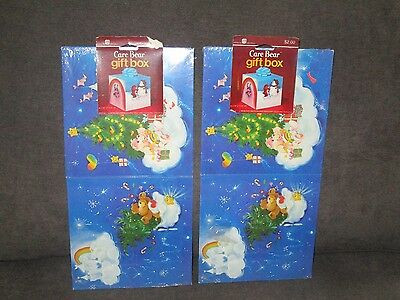 Vintage Care Bears Christmas Gift Box Sets Blue Square Lot of 2