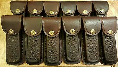 Lot. of 12 New brown textured leather knife sheaths -  knives up to 5""