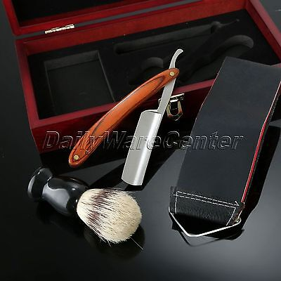 Wood Handle Razor Straight Knife Barber Shaving Brush Leather Strop With Box Set