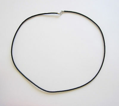"925 sterling silver 2mm genuine black leather cord necklace 16.5"", 20.5"""
