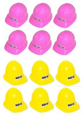 12 x Yellow and Pink Kids Size Unique Construction Plastic Hard Hat Party