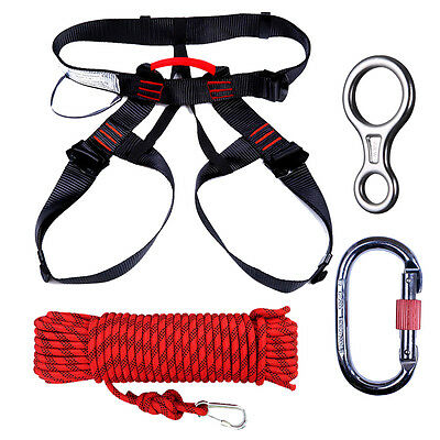 10m Outdoor Mountain Climbing Safety Equipment Caving Rappelling Static Rope Kit